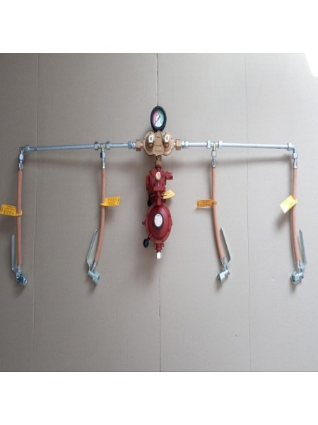 Газобалонка на 4 балона 12кг/год 37-50 mbar RST (автоматична робочий та резервний), комплект